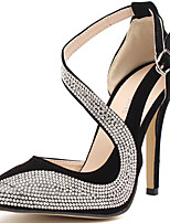 cheap -Women's Heels Stiletto Heel Pointed Toe Synthetics Sweet / British Fall / Spring & Summer Black / Almond / Party & Evening