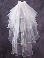 abordables -Quatre couches A Fleurs / Maille / Robe Convertible Voiles de Mariée Voiles chepelle Avec Frange / Fantaisie 39.37 in (100 cm) Polyester