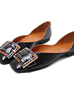 cheap -Women's Shoes Patent Leather Spring & Summer Ballerina Flats Flat Heel Square Toe Rhinestone Black / Almond