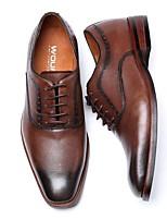 baratos -Homens sapatos Couro Primavera Sapatos formais Conforto Oxfords Preto Marron