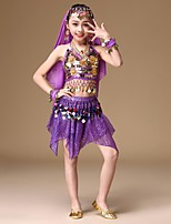 cheap -Belly Dance Outfits Girls' Performance Spandex Copper Coin Paillette Gore Sleeveless Dropped Hair Jewelry 1 Necklace 1 Pair of Earrings