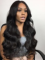 cheap -Remy Human Hair Full Lace Wig Brazilian Hair / Body Wave Wavy Wig 130% Natural Hairline / With Bleached Knots Women's Long Human Hair Lace Wig