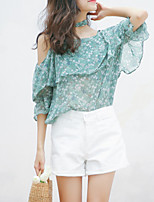 cheap -Women's Daily / Holiday Basic Blouse - Floral Print Strap / Off Shoulder / Choker / Summer