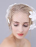 abordables -Une couche euroaméricains Voiles de Mariée Voiles Blush Avec Motif floral perlé & dispersé 17.72 in (45cm) Polyester