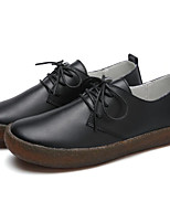 abordables -Femme Chaussures Cuir Printemps Confort Oxfords Talon Plat pour Décontracté Noir Beige Kaki