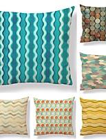 cheap -6 pcs Textile / Cotton / Linen Pillow case, Polka Dot / Lines / Waves / Floral Print Simple / Square Shaped