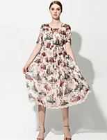 cheap -YHSP Women's Sophisticated / Street chic Swing Dress - Floral Lace / Print