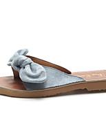 cheap -Women's Shoes PU Summer Comfort Slippers & Flip-Flops Flat Heel Bowknot for Casual Black Beige Yellow Blue