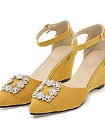 cheap -Women's Shoes Nubuck leather Fall Basic Pump Heels Wedge Heel Pointed Toe Rhinestone / Buckle Yellow / Red / Almond / Party & Evening