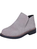 Недорогие -Жен. Обувь Замша Наступила зима Армейские ботинки Ботинки На низком каблуке Круглый носок Ботинки Черный / Светло-серый / Темно-русый