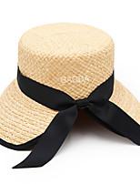 Недорогие -Жен. Винтаж Праздник Соломенная шляпа Шляпа от солнца - Бант Полиэстер, Гусиная лапка