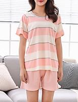 abordables -Col en U Costumes Pyjamas Femme Rayé Couleur Pleine