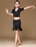 cheap -Latin Dance Outfits Girls' Performance Spandex Gore Tassel Short Sleeves Dropped Skirts Top