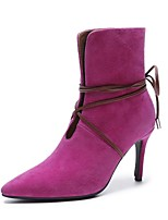 cheap -Women's Shoes Cashmere Fall Bootie Boots Stiletto Heel Pointed Toe Booties / Ankle Boots Fuchsia / Coffee