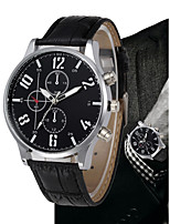 cheap -Men's Quartz Dress Watch Chinese Chronograph / Large Dial PU Band Luxury / Vintage Black / Brown