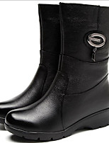 cheap -Women's Shoes PU Leather Winter Comfort Boots Wedge Heel for Casual Black