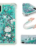 baratos -Capinha Para Apple iPhone X / iPhone 8 Plus Antichoque / Liquido Flutuante / Estampada Capa traseira Unicórnio / Glitter Brilhante Macia