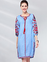 cheap -Proverb women's linen shift dress - solid colored / floral knee-length