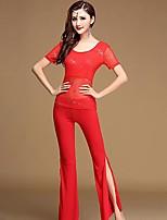 abordables -Danza del Vientre Accesorios Mujer Entrenamiento Rendimiento Poliéster Separado Manga Corta Cintura Alta Top Pantalones