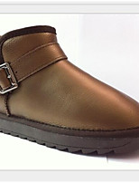 cheap -Women's Shoes Leather Winter Comfort Boots Flat Heel for Casual Gold