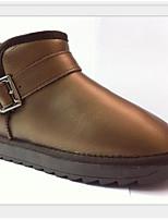 preiswerte -Damen Schuhe Leder Winter Komfort Stiefel Flacher Absatz für Normal Gold