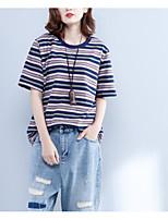 abordables -Tee-shirt Femme, Couleur Pleine Glands / Imprimé Rétro Noir & rouge