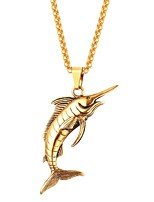 Недорогие -Ожерелья с подвесками  -  Рыбки, Животный принт Мода Золотой, Черный, Серебряный 55 cm Ожерелье Назначение Повседневные