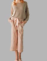 abordables -Col en U Costumes Pyjamas Femme Couleur Pleine / Rayé