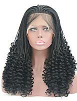 Недорогие -Синтетические кружевные передние парики Кудрявый тесьма Искусственные волосы Жаропрочная Черный Парик Жен. Длинные Парик из натуральных