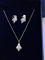 cheap -Women's Cubic Zirconia Jewelry Set - Leaf, Drop Sweet, Fashion Include Drop Earrings / Pendant Necklace White For Wedding / Going out