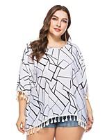 Недорогие -Жен. С кисточками Блуза Уличный стиль Богемный Геометрический принт