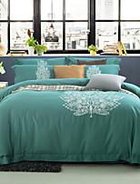 cheap -Duvet Cover Sets Floral Linen / Cotton Embroidery 4 Piece