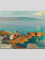 abordables -Peinture à l'huile Hang-peint Peint à la main - Paysage Personnage Moderne Toile