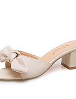 cheap -Women's Shoes PU(Polyurethane) Summer Comfort Slippers & Flip-Flops Chunky Heel Bowknot Black / Beige / Khaki
