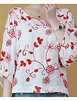 cheap -women's linen t-shirt - floral round neck