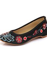cheap -Women's Shoes Canvas Summer Comfort Flats Flat Heel Pointed Toe Black / Red