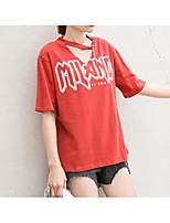 cheap -Women's Basic T-shirt - Letter V Neck