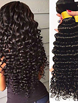 cheap -Brazilian Hair / Deep Wave Wavy One Pack Solution 4 Bundles Human Hair Weaves Newborn / Extention / Sexy Lady Natural Black Human Hair Extensions Women's