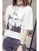abordables -Tee-shirt Grandes Tailles Femme, Couleur Pleine / Portrait - Coton