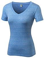 baratos -Mulheres Decote V Camiseta de Corrida - Preto, Azul Esportes Elastano Camiseta Manga Curta Roupas Esportivas Leve, Secagem Rápida,