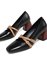 cheap -Women's Shoes Leather Spring / Summer Comfort Heels Chunky Heel Black / Brown / Almond