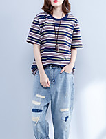 economico -T-shirt Per donna A strisce Cotone / Cotone / A strisce