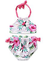 cheap -Toddler Girls' Print Color Block Sleeveless Swimwear