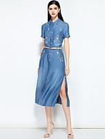 cheap -MARY YAN&YU Women's Basic / Street chic Denim Dress Embroidered