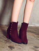 cheap -Women's Shoes Fleece Fall & Winter Comfort Boots Chunky Heel Booties / Ankle Boots Black / Blue / Burgundy