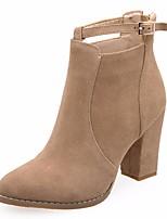 Недорогие -Жен. Обувь Нубук Осень Ботильоны Ботинки На толстом каблуке для Черный / Хаки