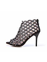 abordables -Femme Chaussures Cuir Printemps été Gladiateur Chaussures à Talons Talon Aiguille Bout ouvert Strass Noir / Amande / Soirée & Evénement