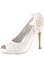 cheap -Women's Shoes Lace Satin Spring & Summer Basic Pump Wedding Shoes Stiletto Heel Peep Toe Satin Flower for Wedding Beige