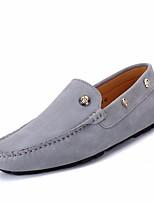 Недорогие -Муж. обувь Кожа Весна Мокасины Мокасины и Свитер для на открытом воздухе Черный Темно-синий Серый Хаки