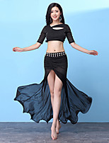 cheap -Belly Dance Outfits Women's Training Nylon Split Joint / Split Half Sleeve Dropped Skirts / Top
